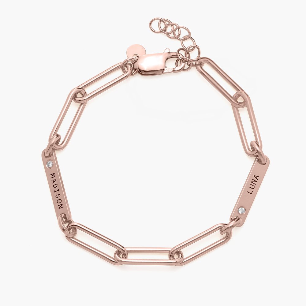 Ivy Name Paperclip Chain Bracelet with Diamond - Rose Gold Plating - 1