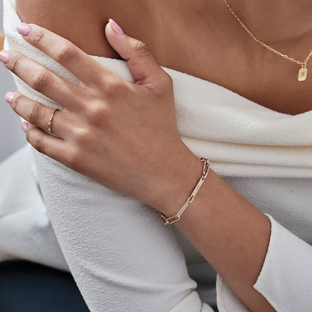 Ivy Name Paperclip Chain Bracelet with Diamond - Rose Gold Plating - 3