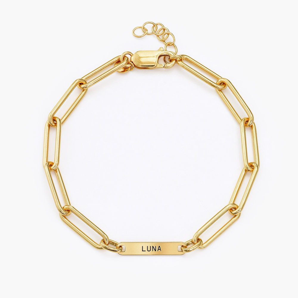 Ivy Name Paperclip Chain Bracelet - Gold Vermeil - 1