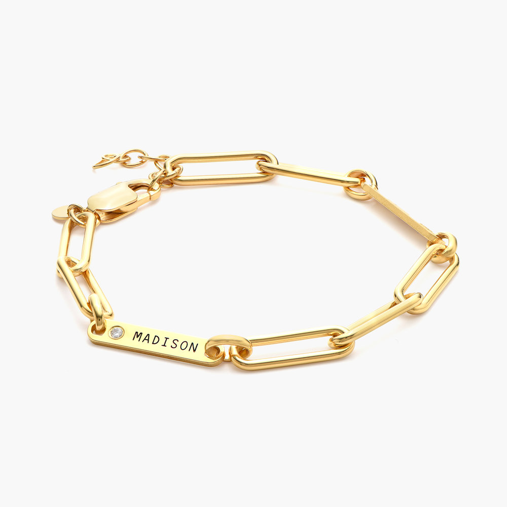 Ivy Name Paperclip Chain Bracelet with Diamond - Gold Vermeil