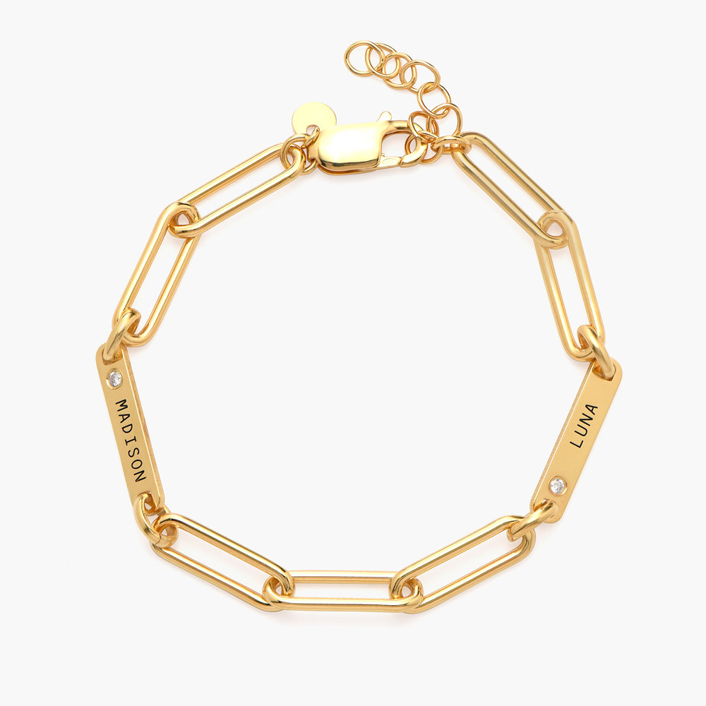 Ivy Name Paperclip Chain Bracelet with Diamond - Gold Vermeil - 1