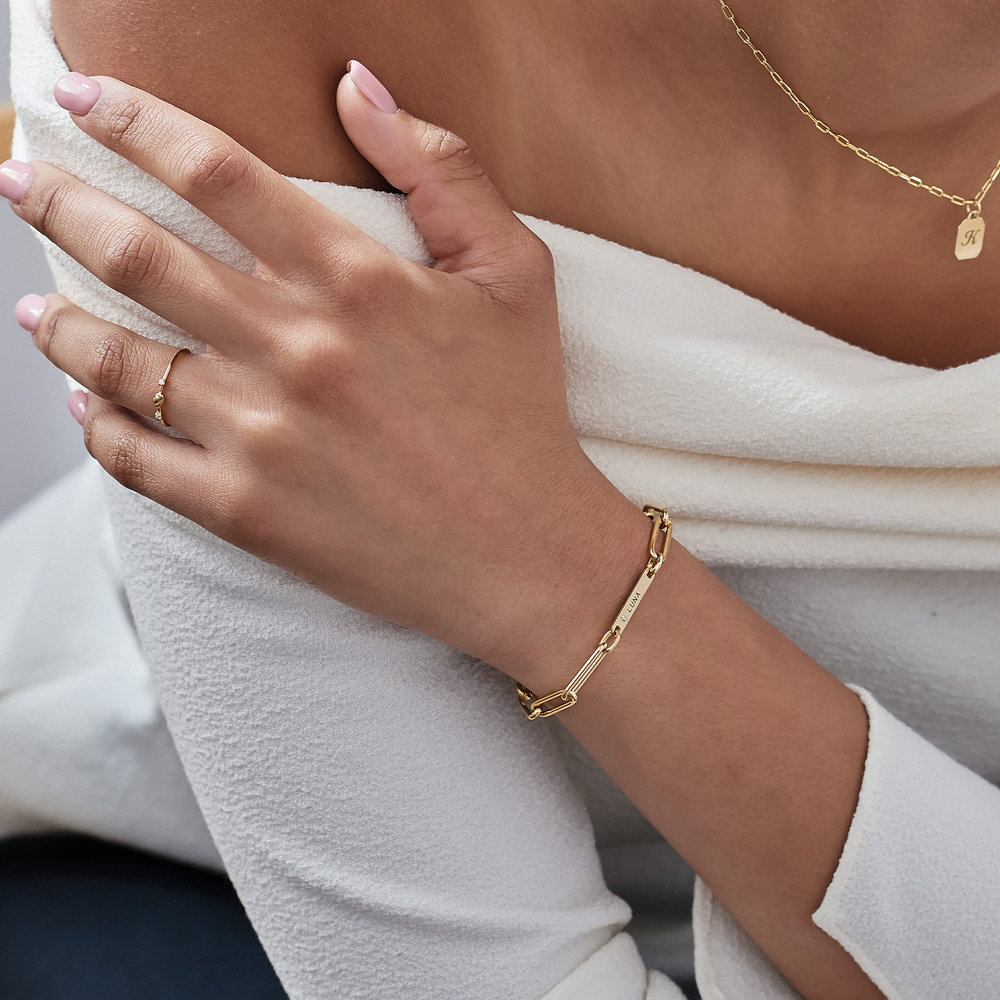 Ivy Name Paperclip Chain Bracelet with Diamond - Gold Vermeil - 2