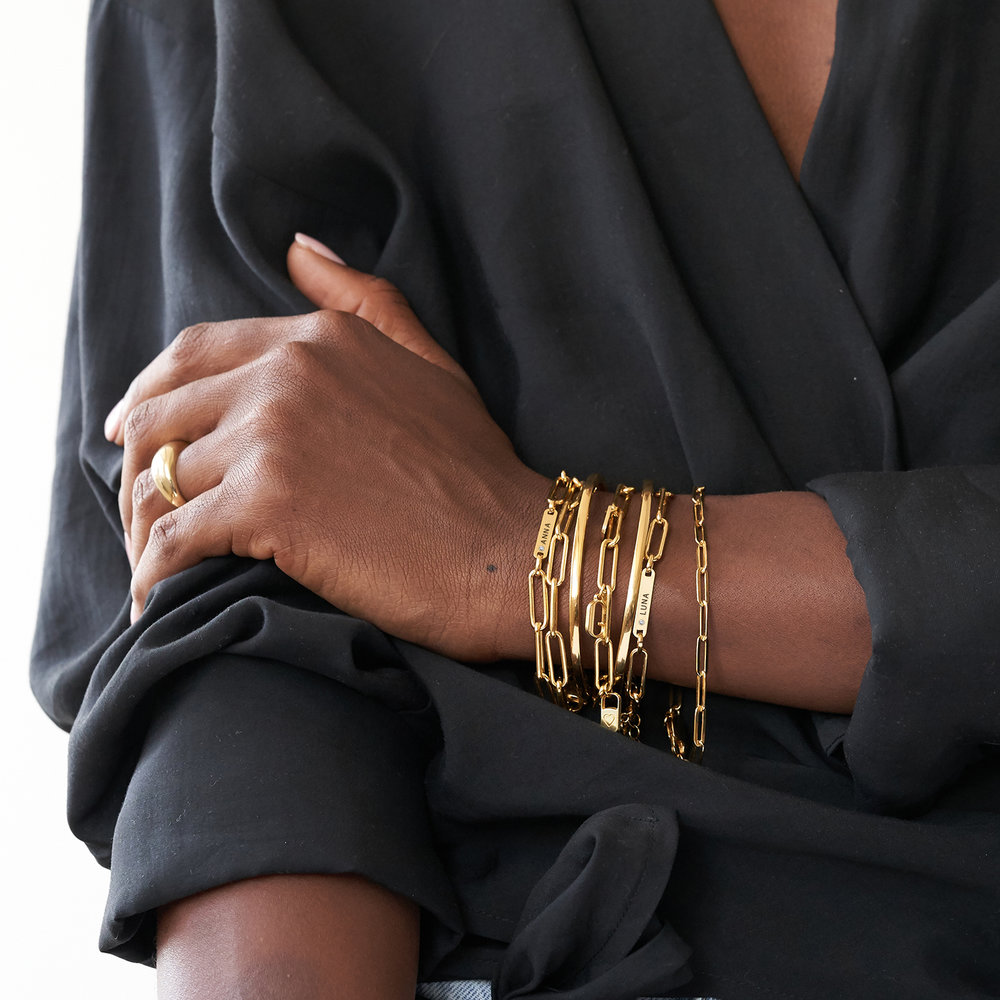 Ivy Name Paperclip Chain Bracelet with Diamond - Gold Vermeil - 4