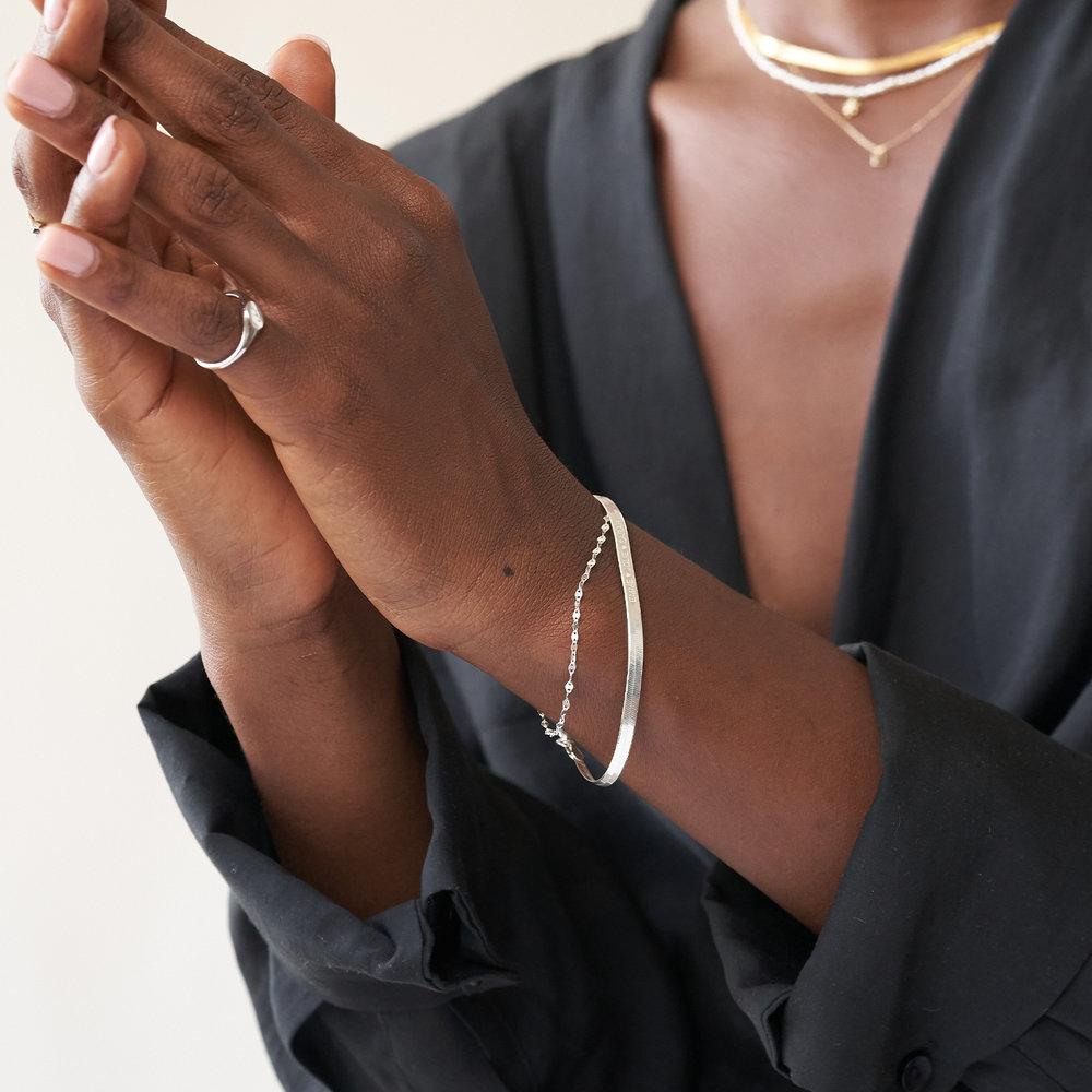 Herringbone Slim Bracelet - Sterling Silver - 3