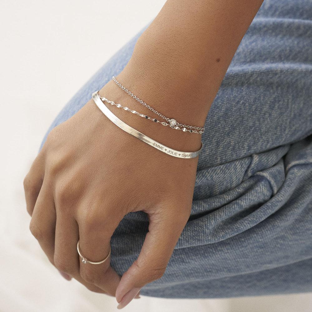 Herringbone Slim Bracelet - Sterling Silver - 4