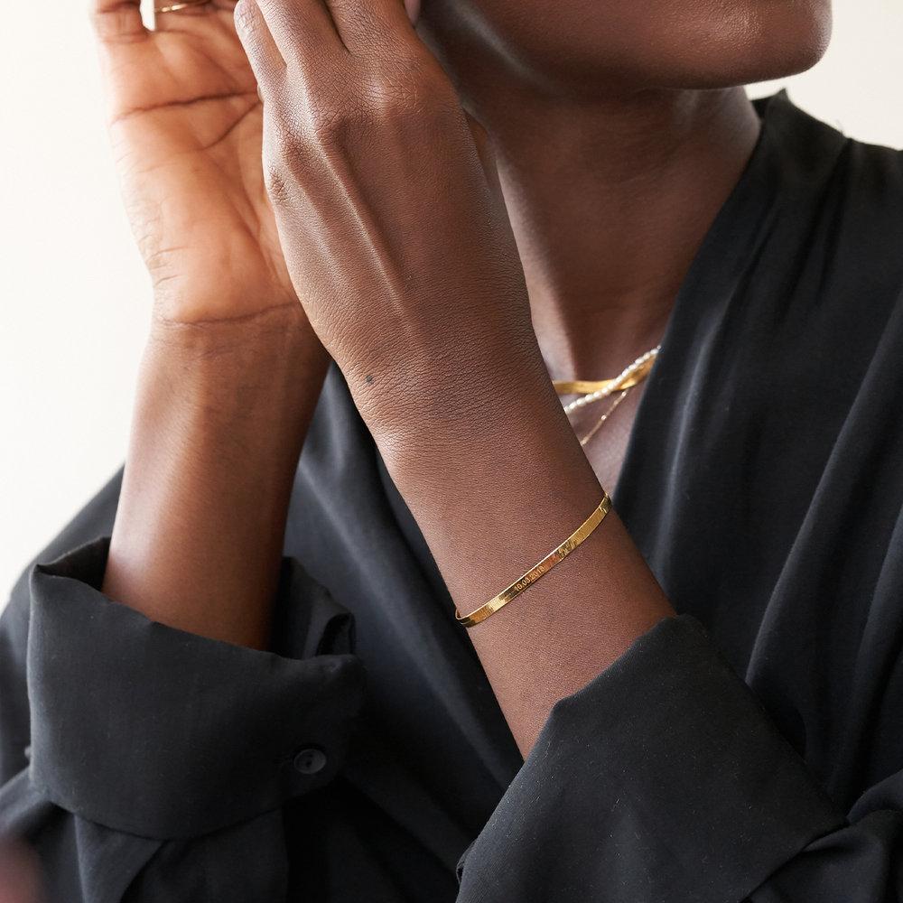 Herringbone Slim Bracelet - Gold Plated - 3