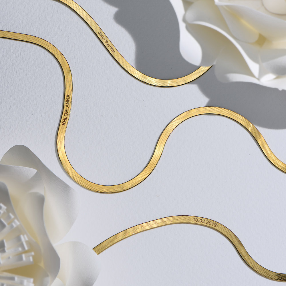 Herringbone Slim Bracelet - Gold Plated - 4