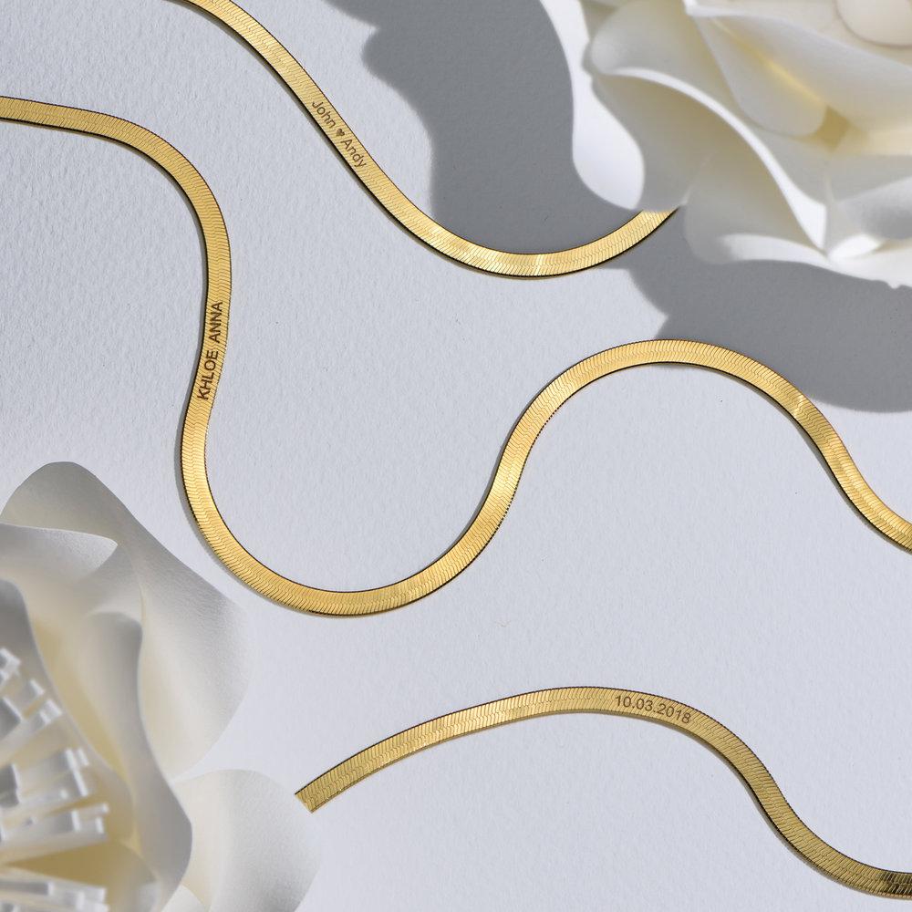 Herringbone Slim Bracelet - Gold Vermeil - 4
