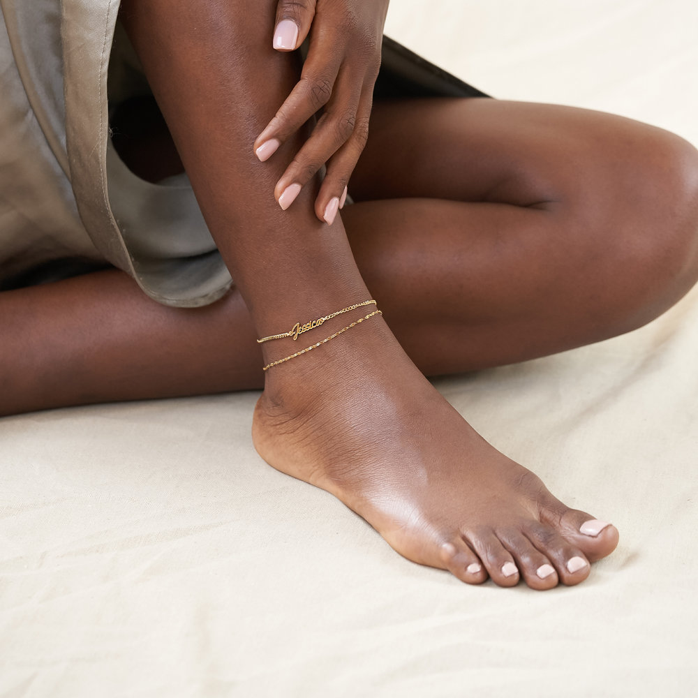 Allora Name Ankle Bracelet - Gold Vermeil - 2