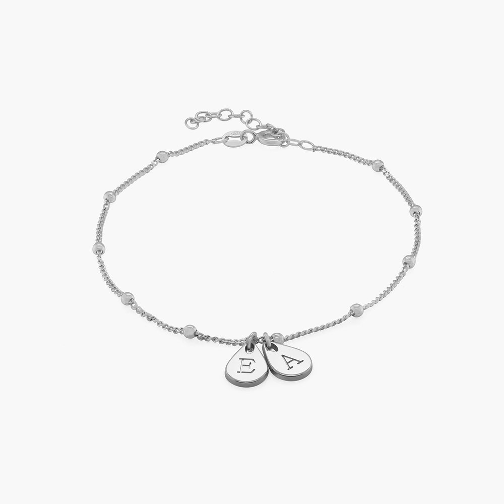 Maren Ankle Bracelet with Initials - Sterling Silver