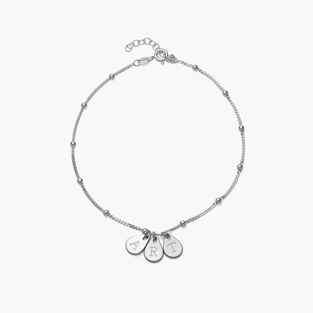 Maren Ankle Bracelet with Initials - Sterling Silver - 1