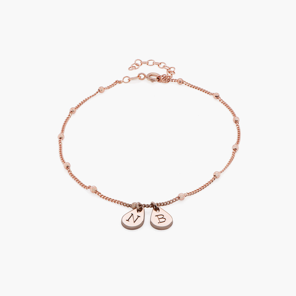 Maren Ankle Bracelet with Initials - Rose Gold Plating