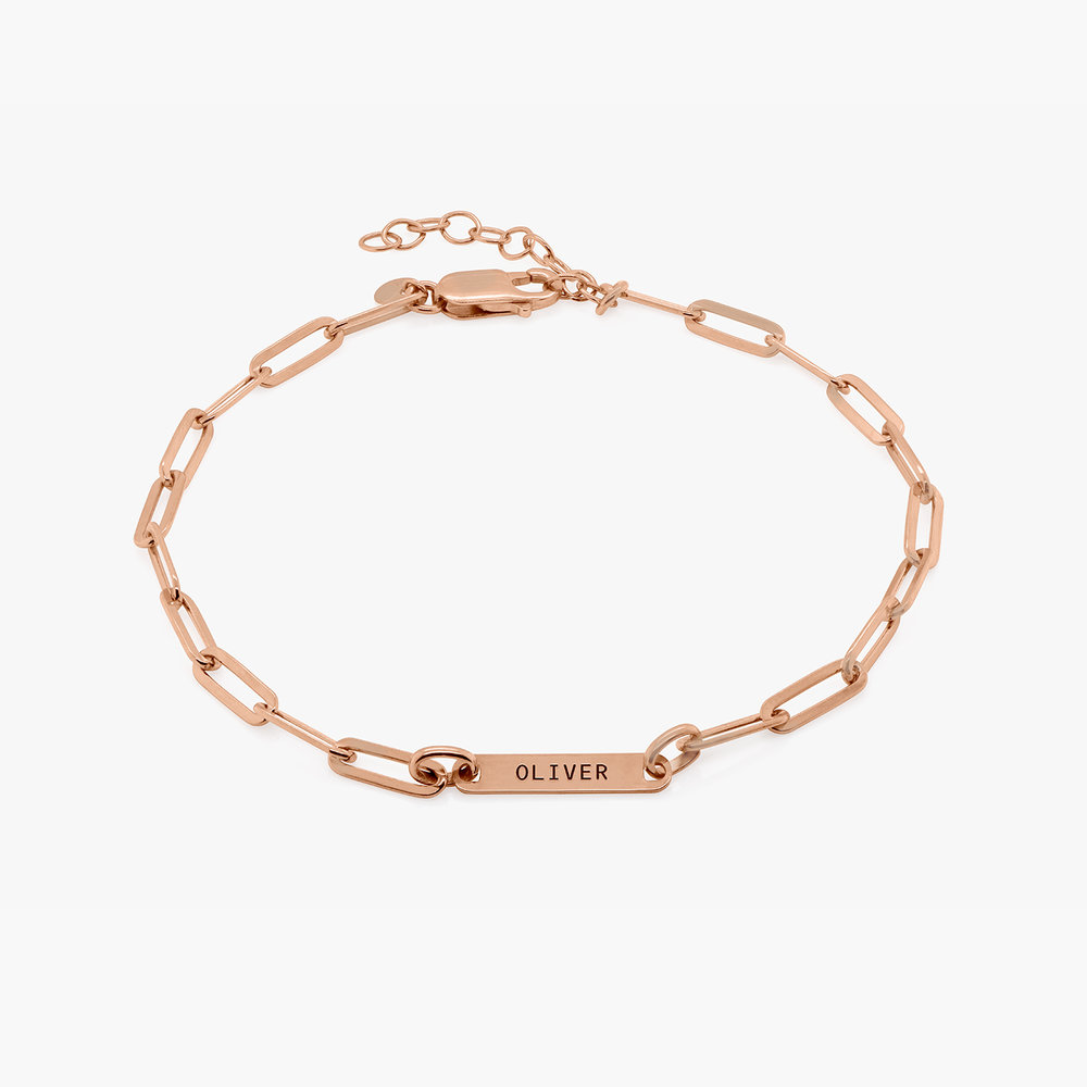 Ivy Name Paperclip Chain Anklet - Rose Gold Plating