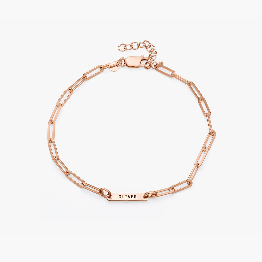 Ivy Name Paperclip Chain Anklet - Rose Gold Plating - 1