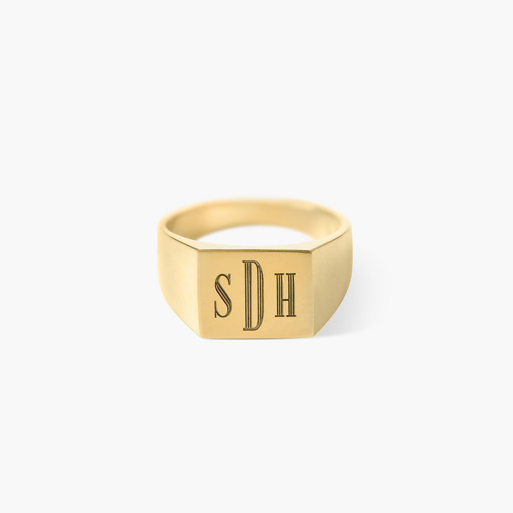 Monogrammed Signet Ring - Gold Plated