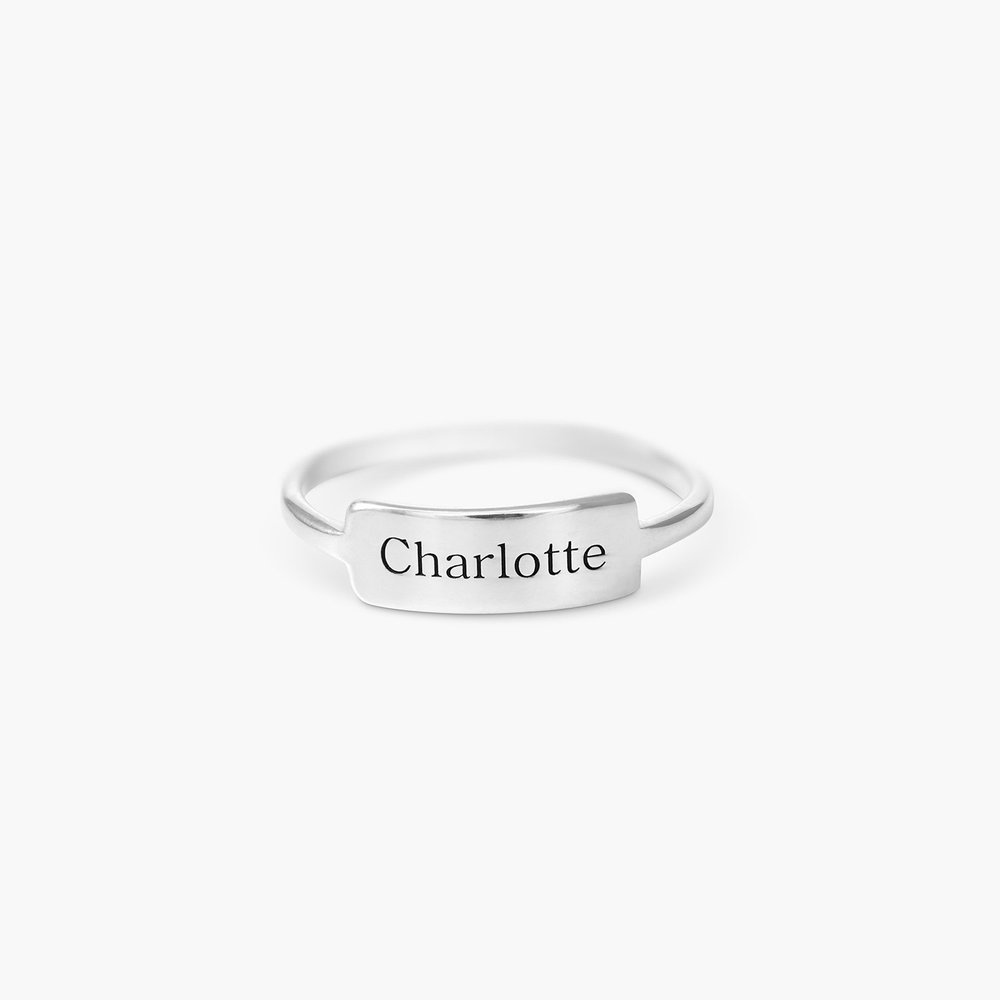Engraved Nameplate Ring - Sterling Silver