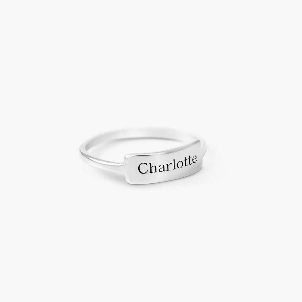 Engraved Nameplate Ring - Sterling Silver - 1