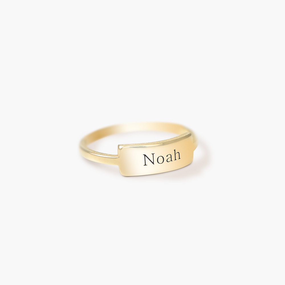 Engraved Nameplate Ring - Gold Plated - 1