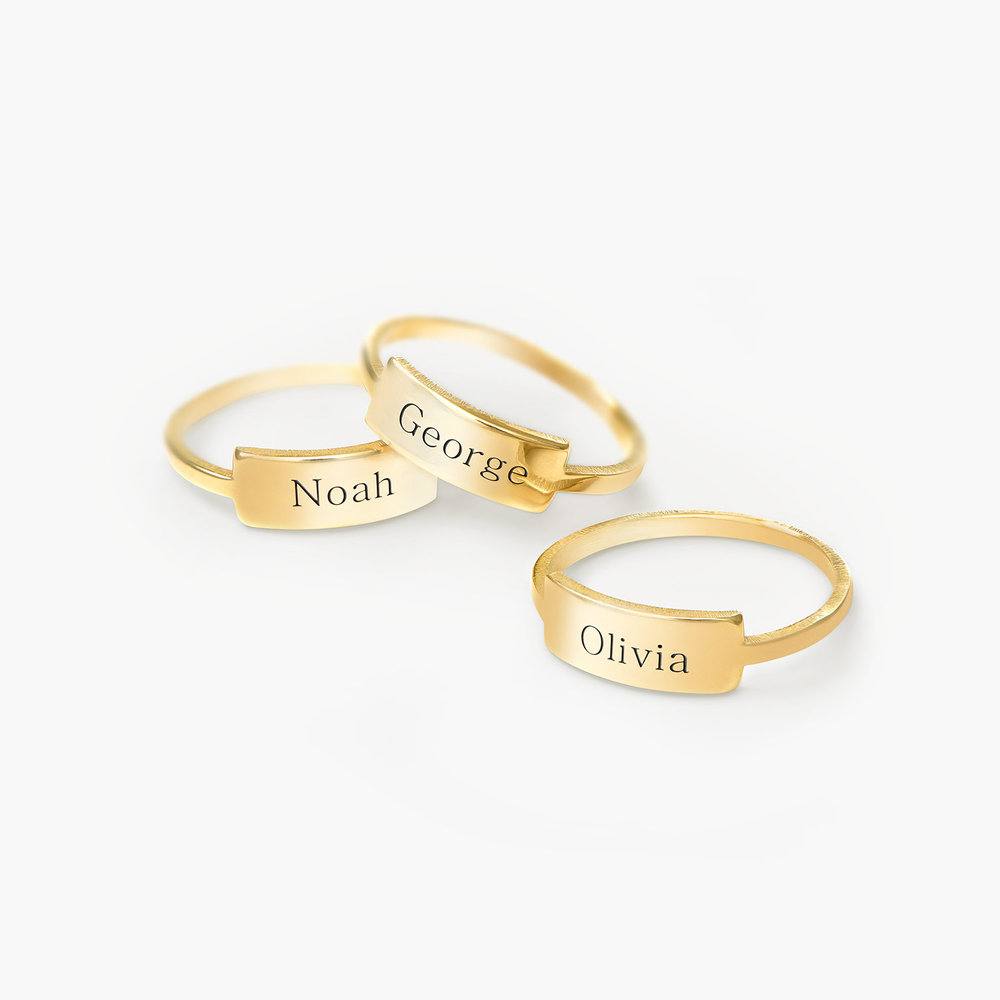 Engraved Nameplate Ring - Gold Plated - 2