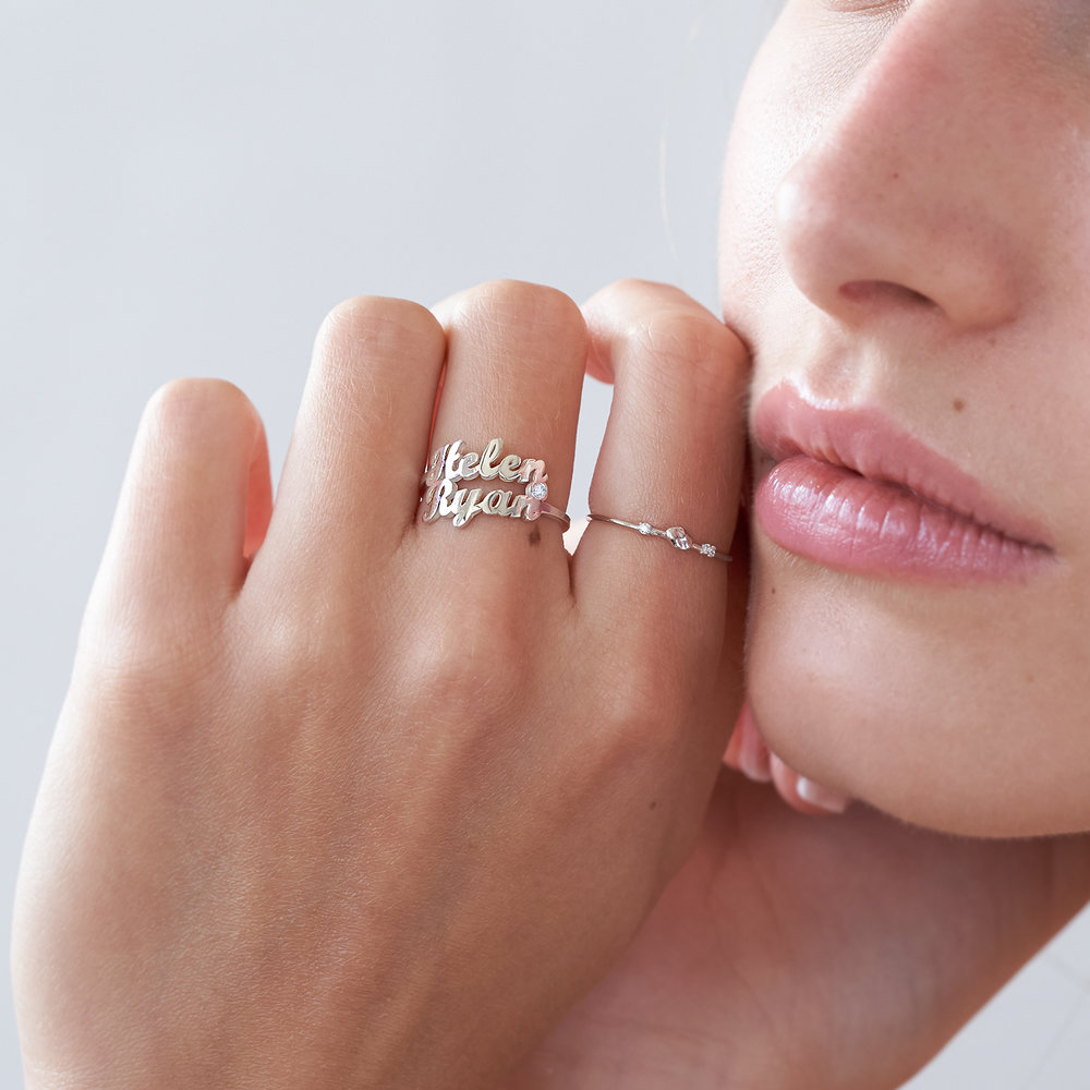 Two is Better Than One Name Ring With Diamond - Sterling Silver - 4