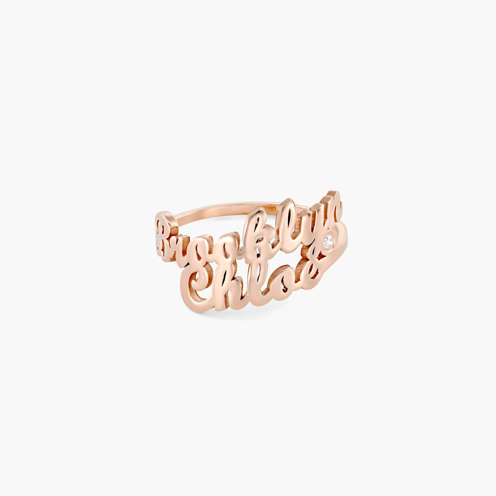 Two is Better Than One Name Ring With Diamond - Rose Gold Plated