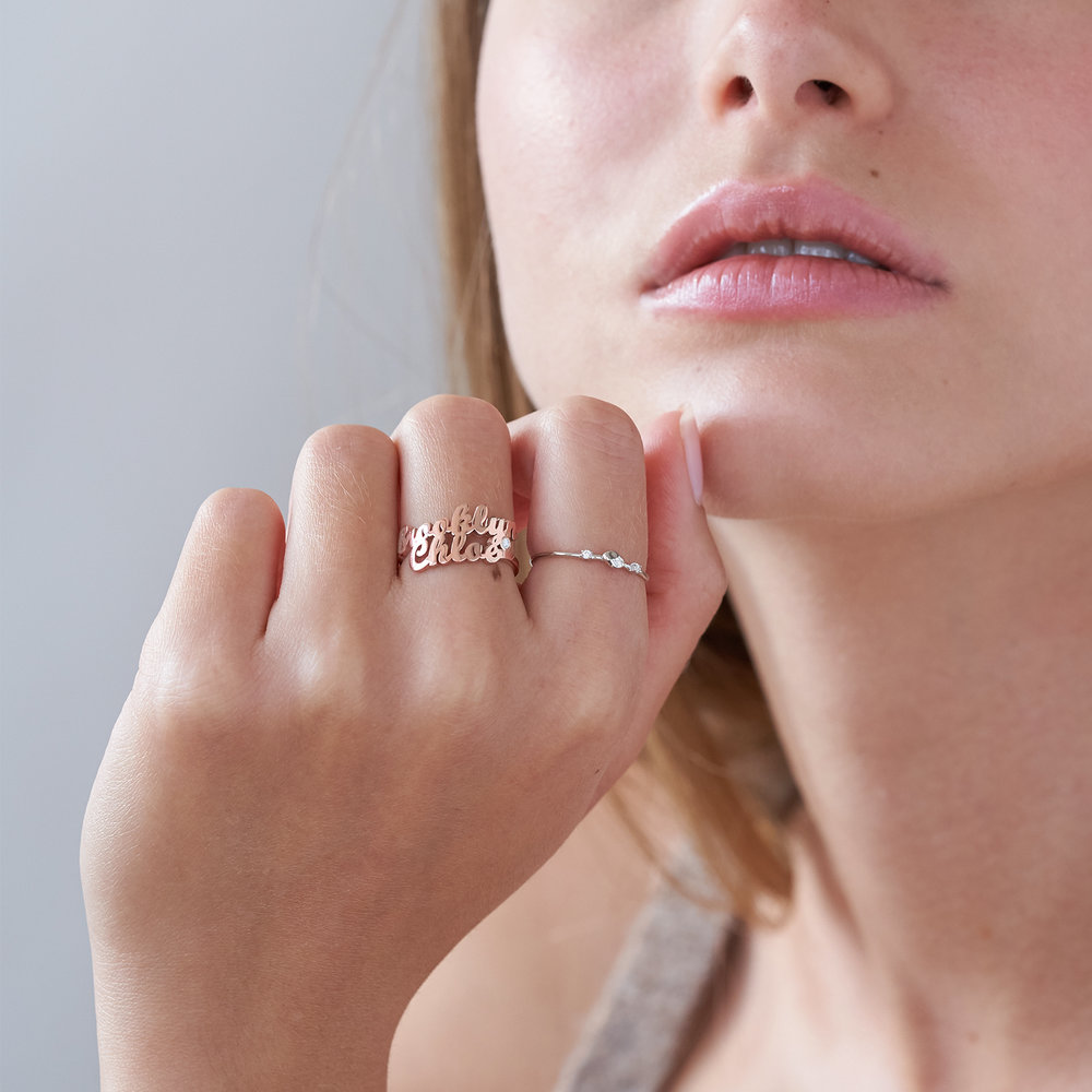Two is Better Than One Name Ring With Diamond - Rose Gold Plated - 2