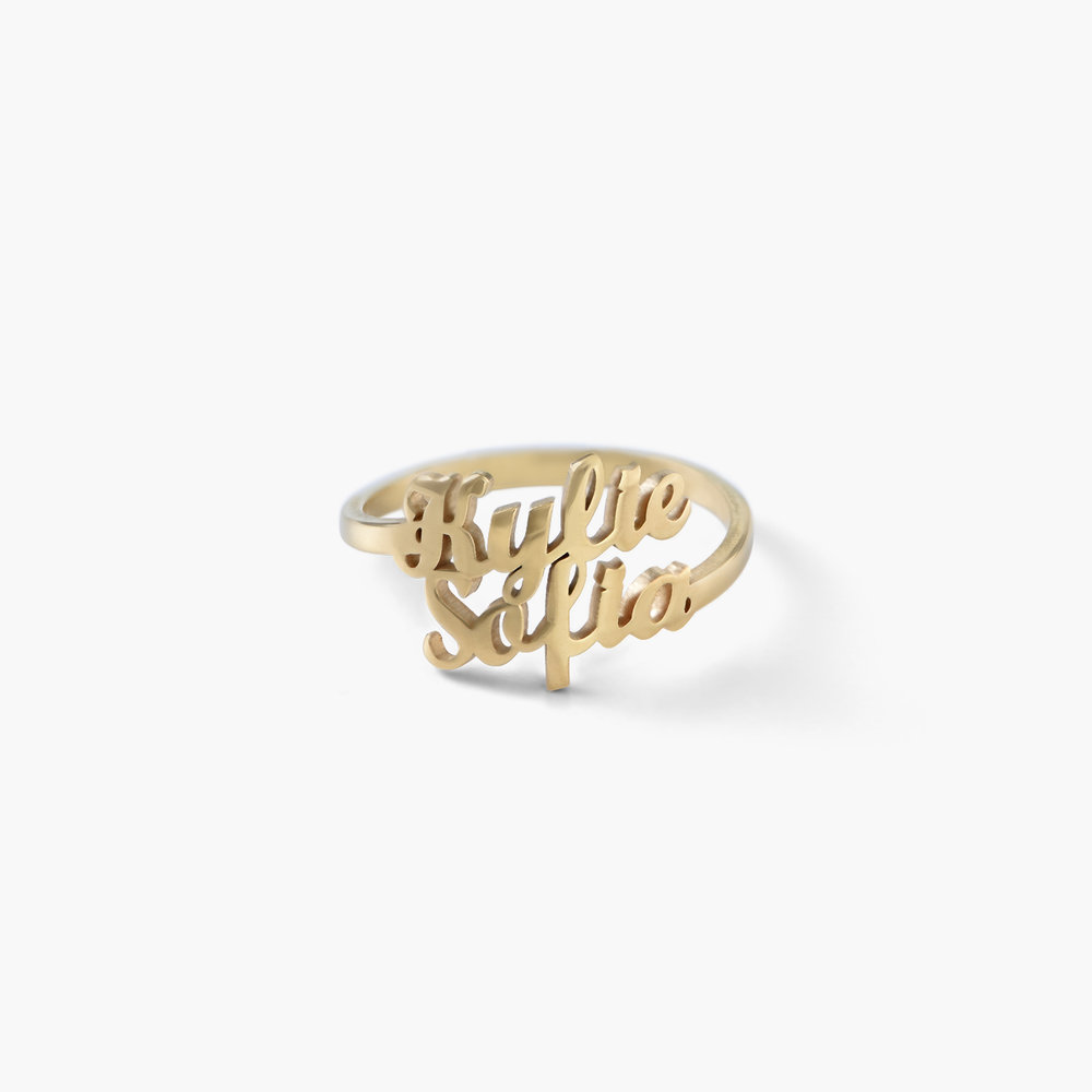 Two is Better Than One Name Ring - 18k Gold Vermeil