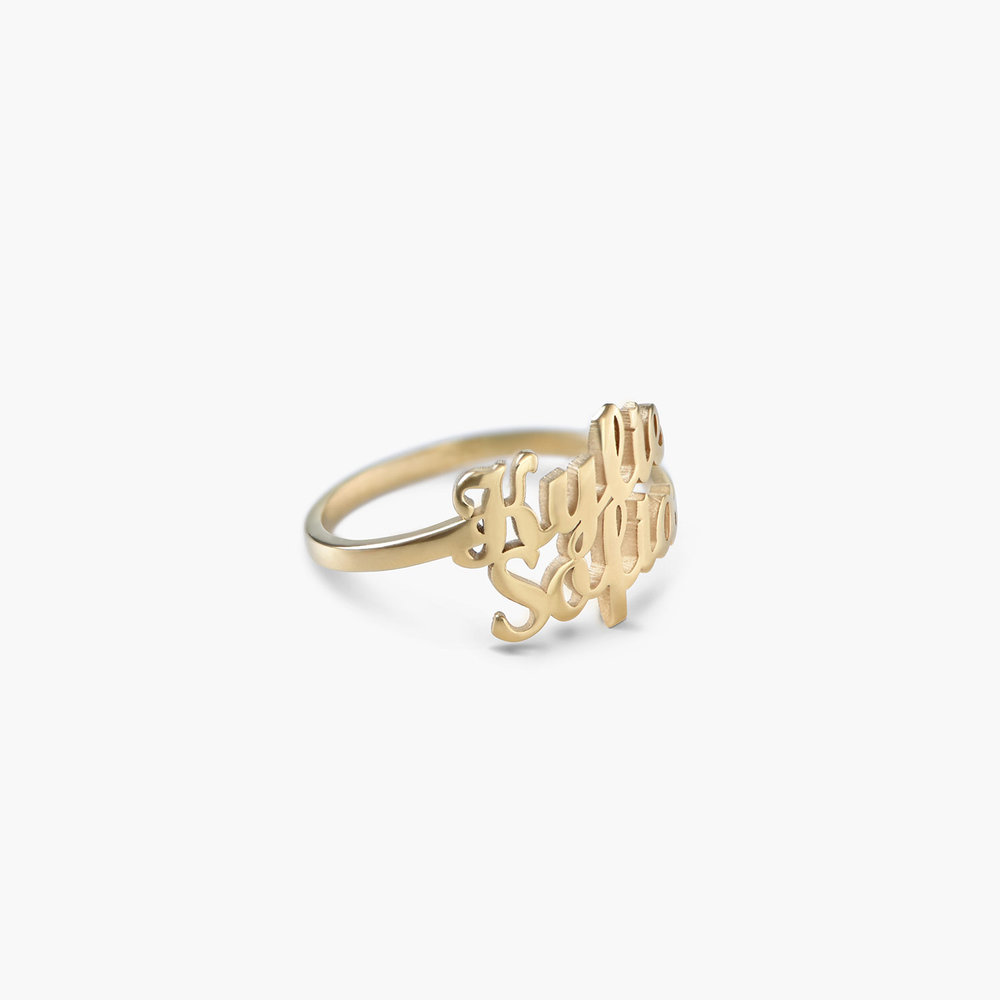 Two is Better Than One Name Ring - 18k Gold Vermeil - 1