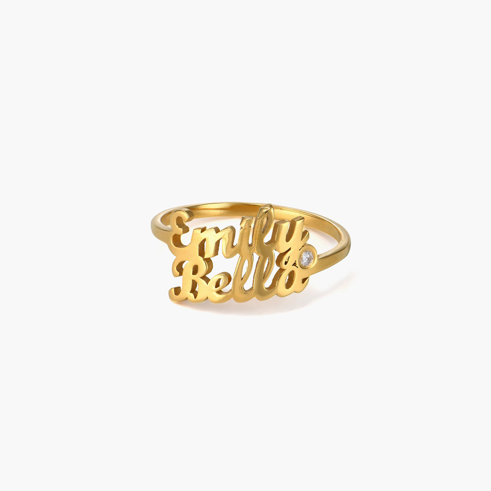 Two is Better Than One Name Ring With Diamond - 18 Gold Vermeil