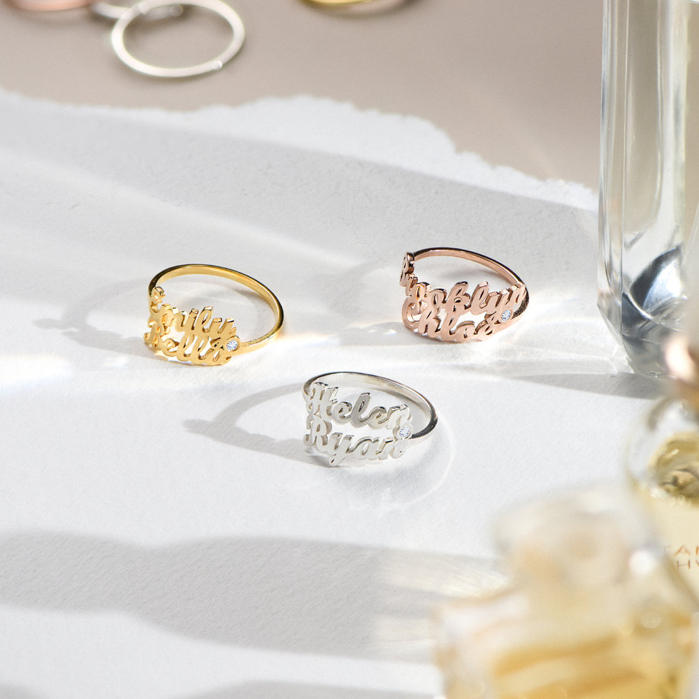 Two is Better Than One Name Ring With Diamond - 18 Gold Vermeil - 2