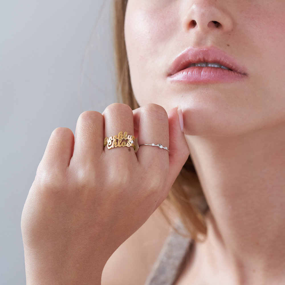 Two is Better Than One Name Ring With Diamond - 18 Gold Vermeil - 3