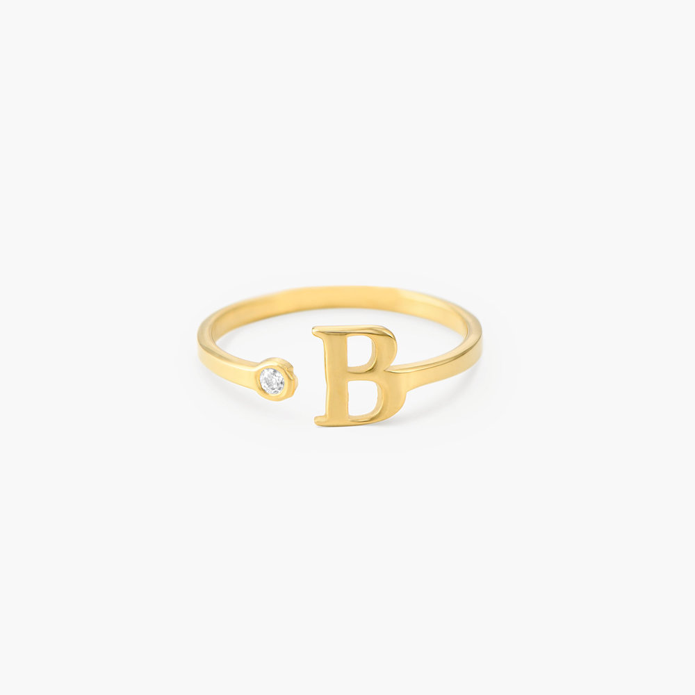 Tiny Initial Ring  - Gold Plated