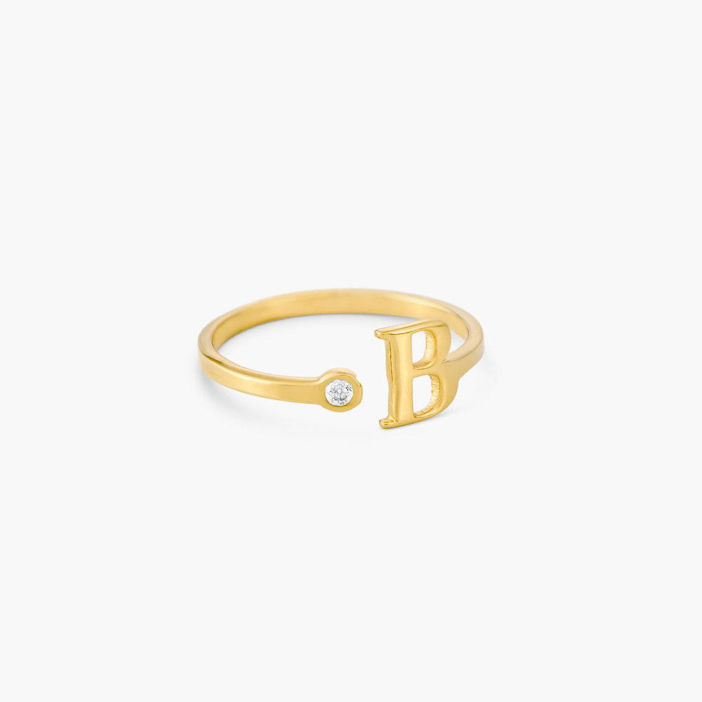 Tiny Initial Ring  - Gold Plated - 1