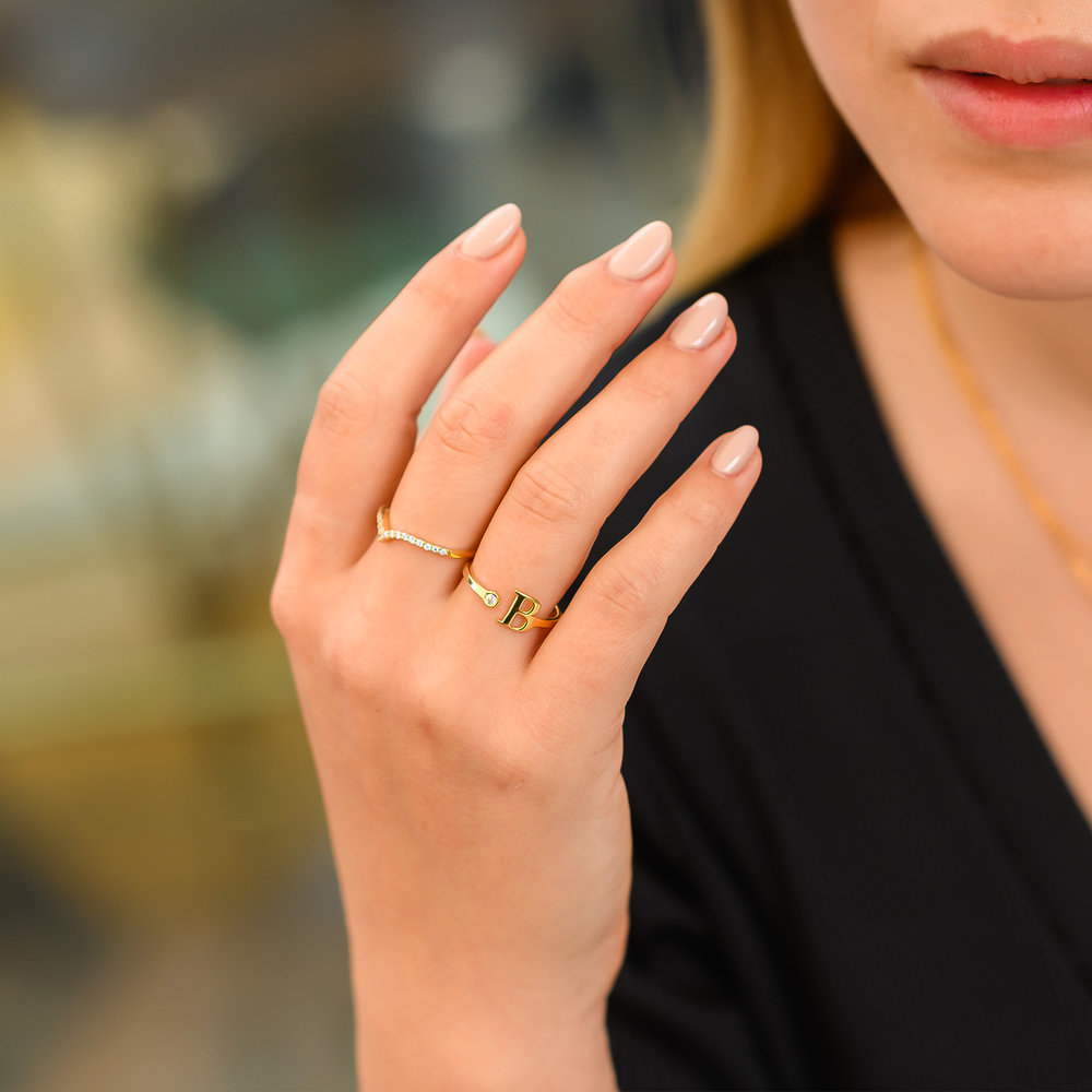 Tiny Initial Ring  - Gold Plated - 3
