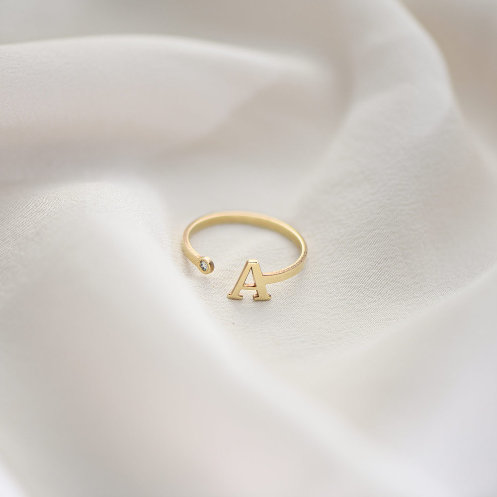 Tiny Initial Ring  - Gold Plated - 4