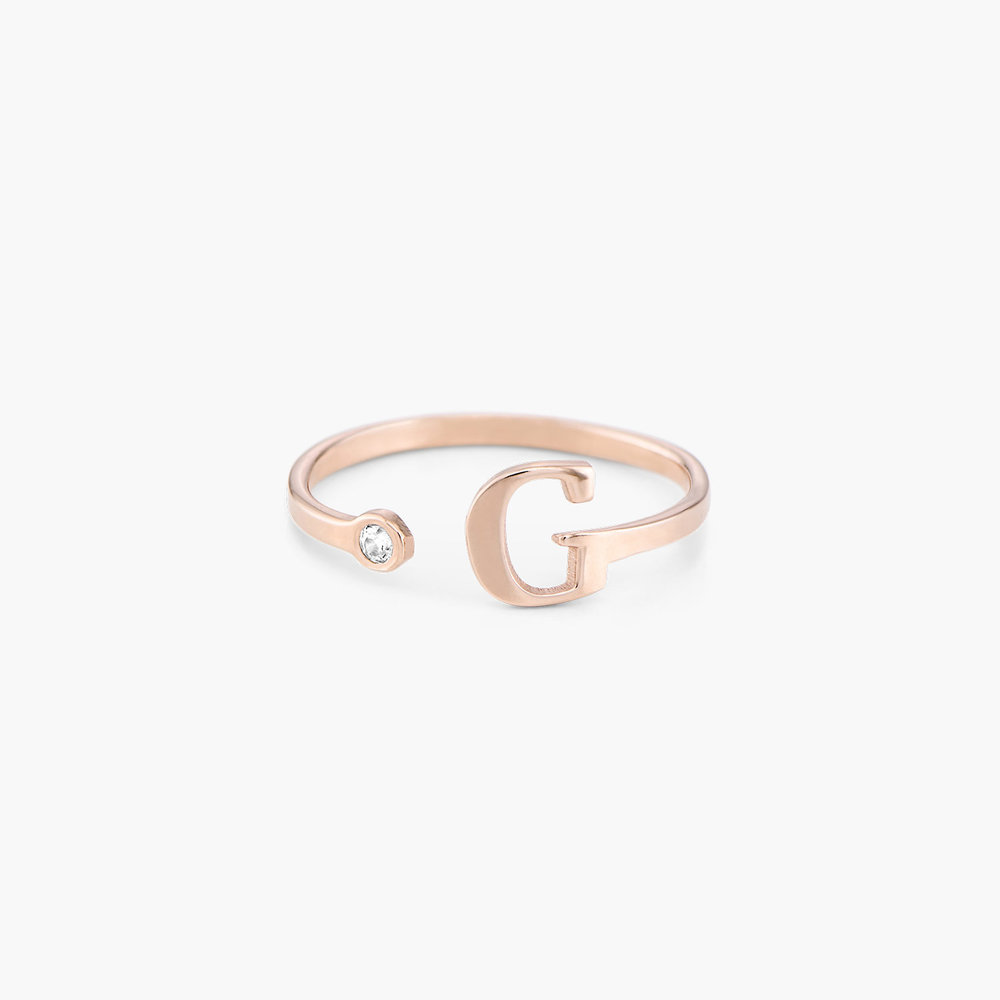 Tiny Initial Ring  - Rose Gold Plated