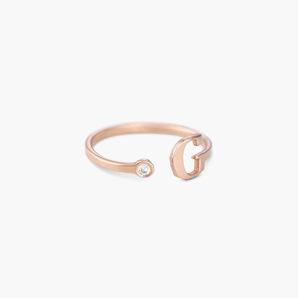 Tiny Initial Ring  - Rose Gold Plated - 1