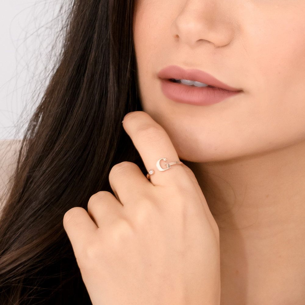 Tiny Initial Ring  - Rose Gold Plated - 3