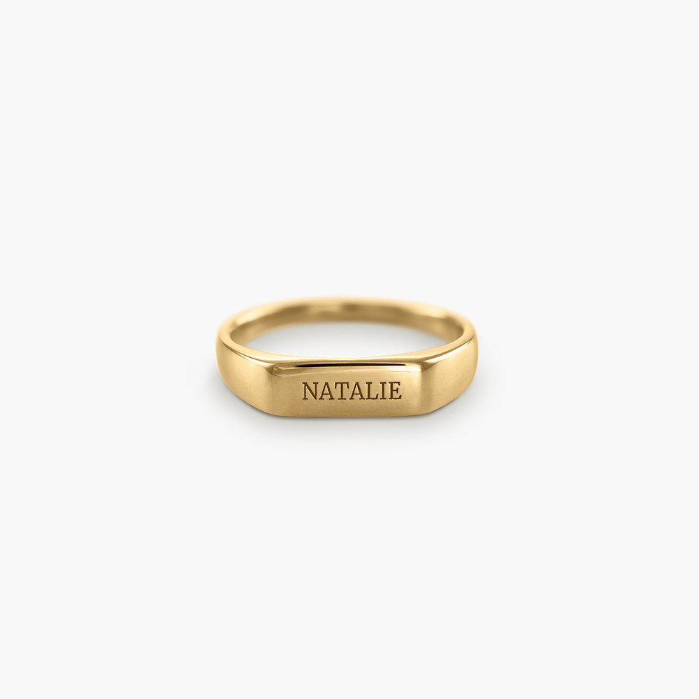 Luna Bar Name Ring - Gold Plated