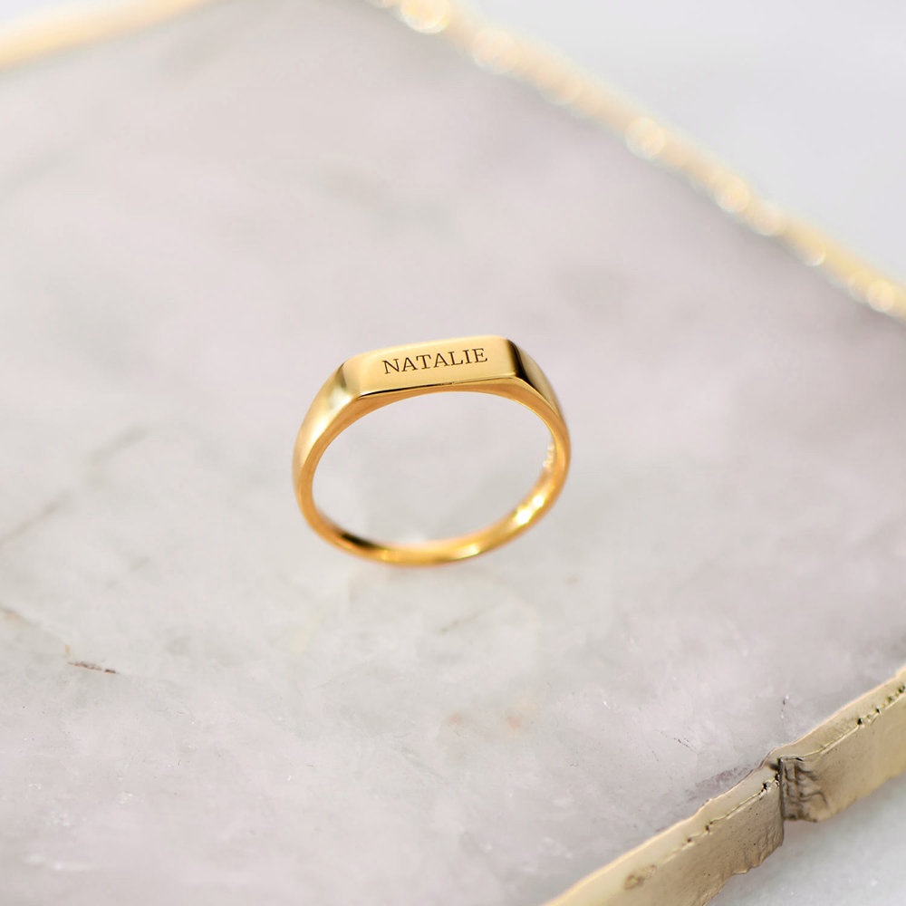 Luna Bar Name Ring - Gold Plated - 2
