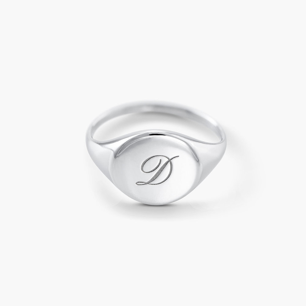 Luna Round Initial Ring - Silver