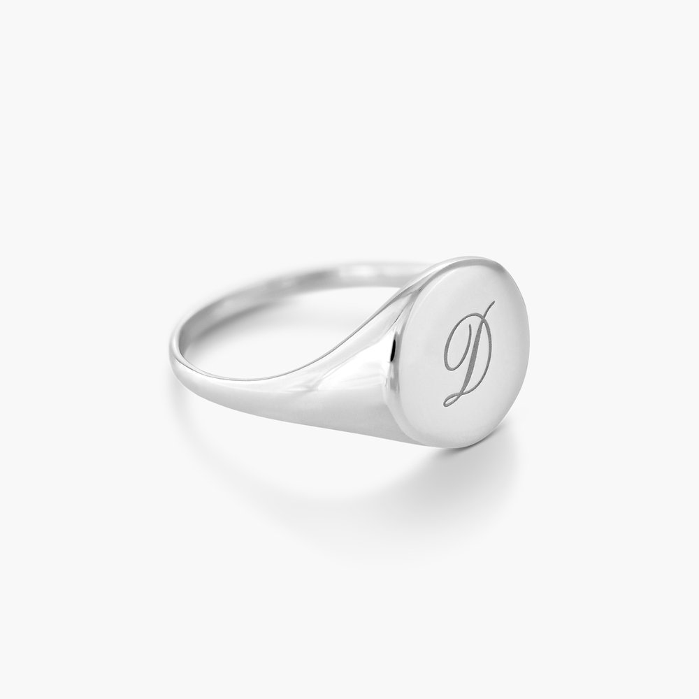 Luna Round Initial Ring - Silver - 1