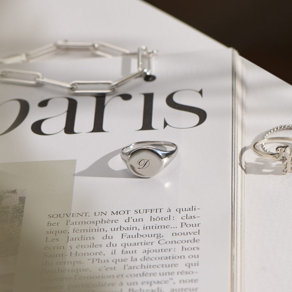 Luna Round Initial Ring - Silver - 2