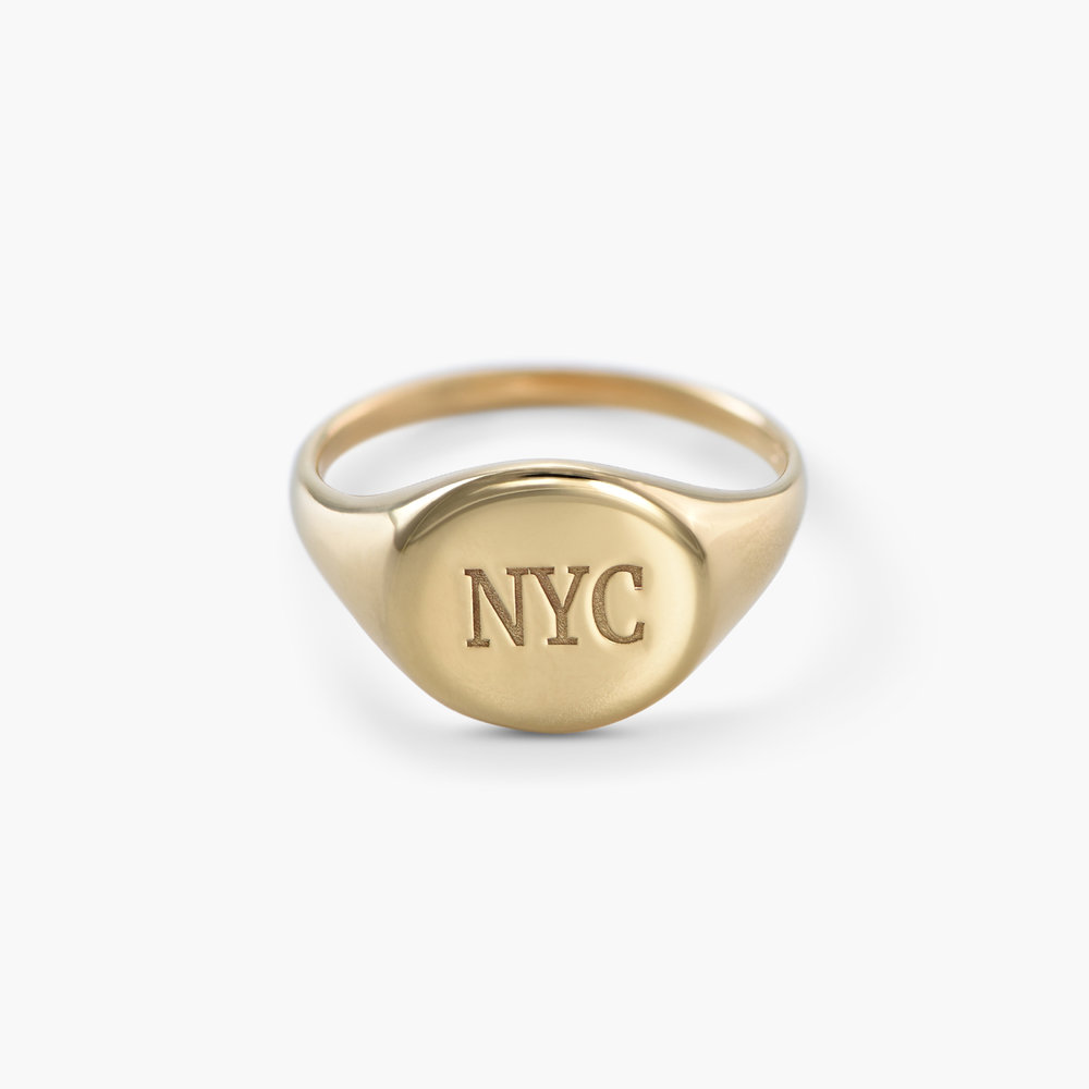 Luna Round Initial Ring - Gold Plated