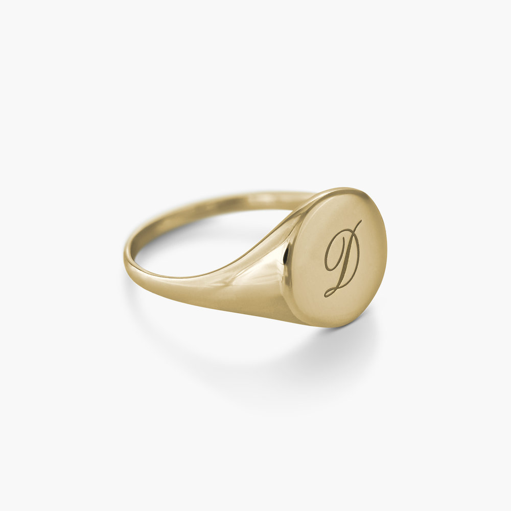 Luna Round Initial Ring - Gold Plated - 1