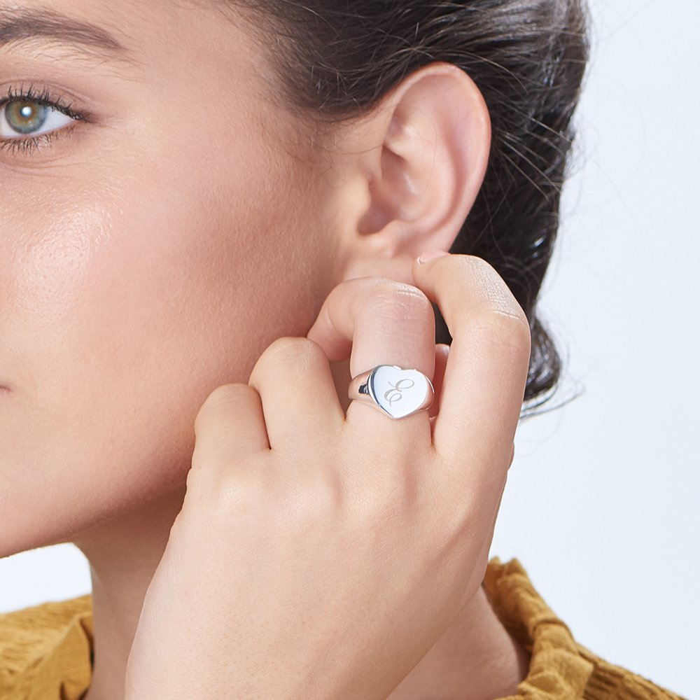 Luna Heart Initial Ring - Silver - 3