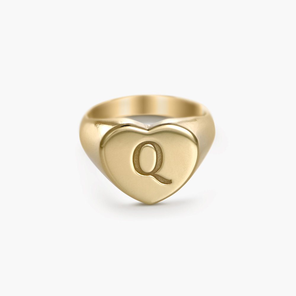 Luna Heart Initial Ring - Gold Plated