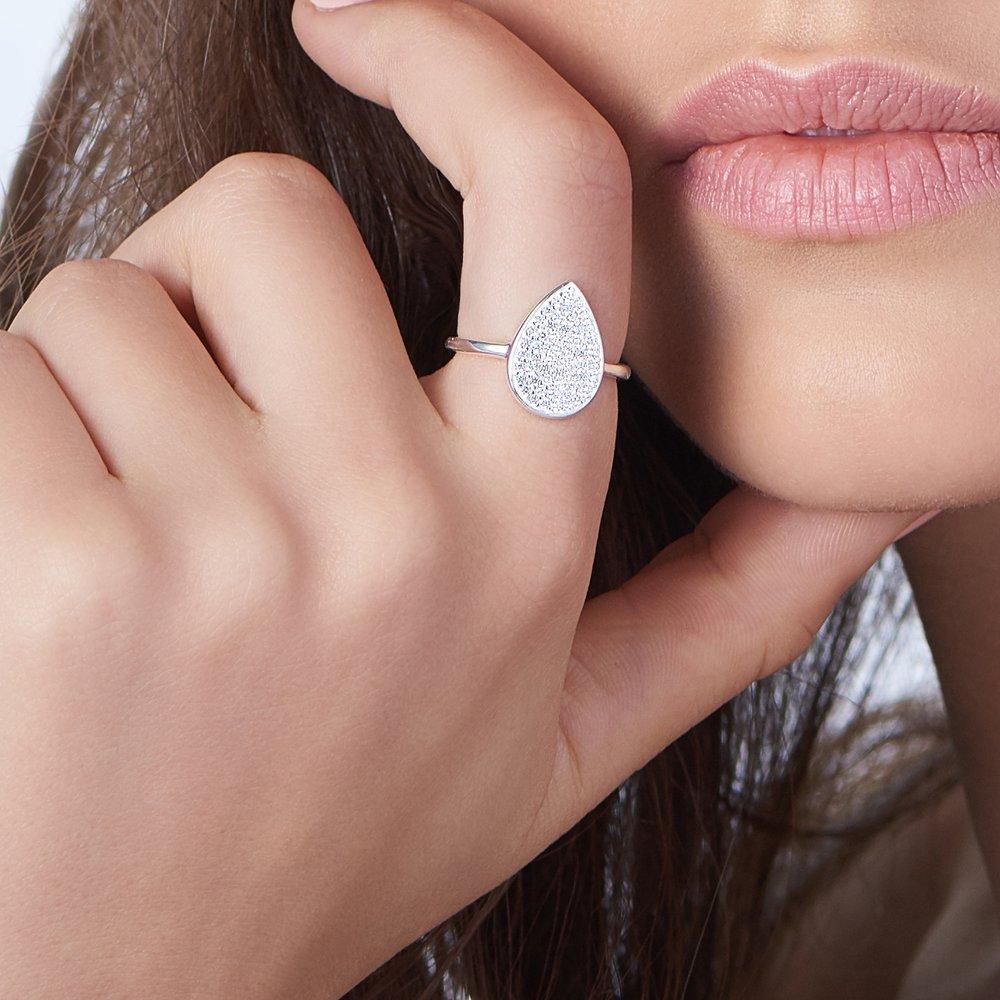 Stardust Teardrop Ring - Silver - 3