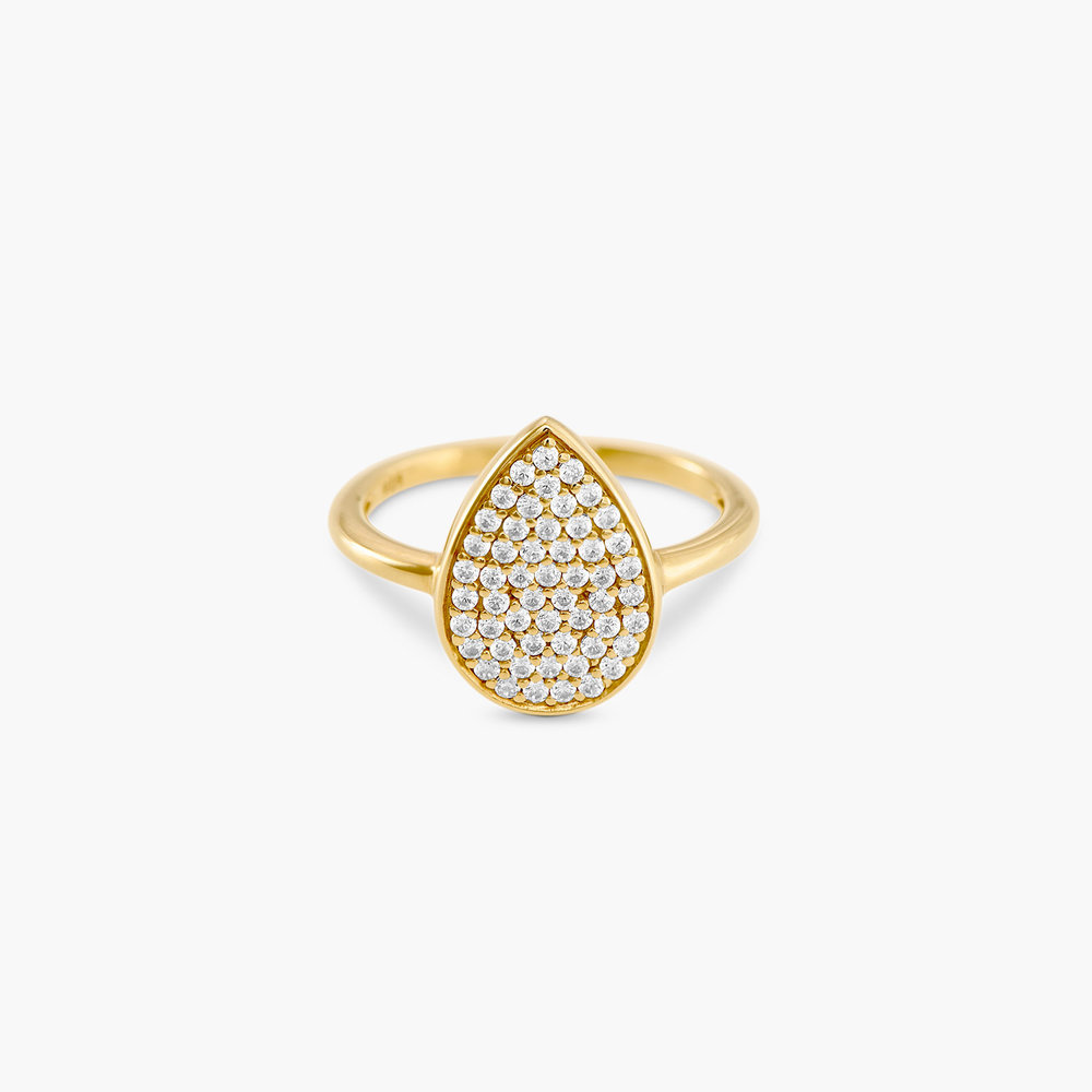 Stardust Teardrop Ring with Cubic Zirconia  - Gold Plated