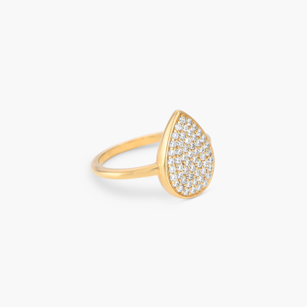 Stardust Teardrop Ring with Cubic Zirconia  - Gold Plated - 1